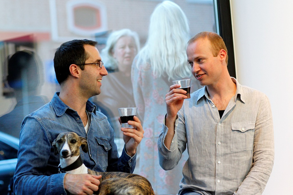 Marijn Akkermans (r) at the opening of Beyond Tradition
